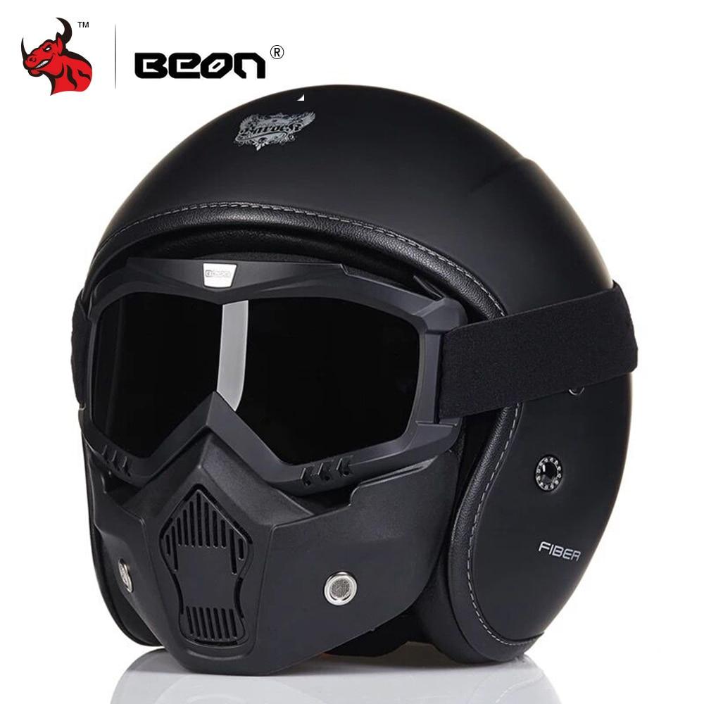 BEON Rétro Vintage Style Allemand Moto Casque 3/4 casque ouvert Scooter Chopper Cruiser Biker Moto Casque Lunettes Masque