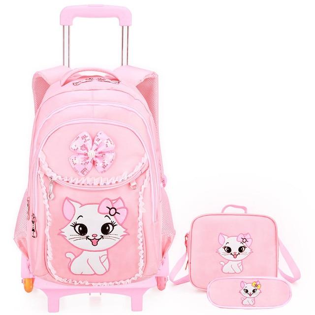 80b57fb130 Removable Children School Bags Trolley school Backpack set Wheel School Bag  Grils cartoon Kids backpack princess Schoolbags kids-in School Bags from  Luggage ...