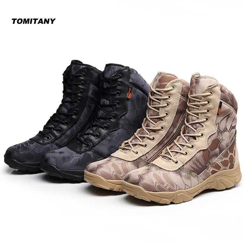 Man Hiking Outdoor Shoes Waterproof Camo Zipper Military Tactical Army Boot Men Climbing Trekking Camping Sneaker