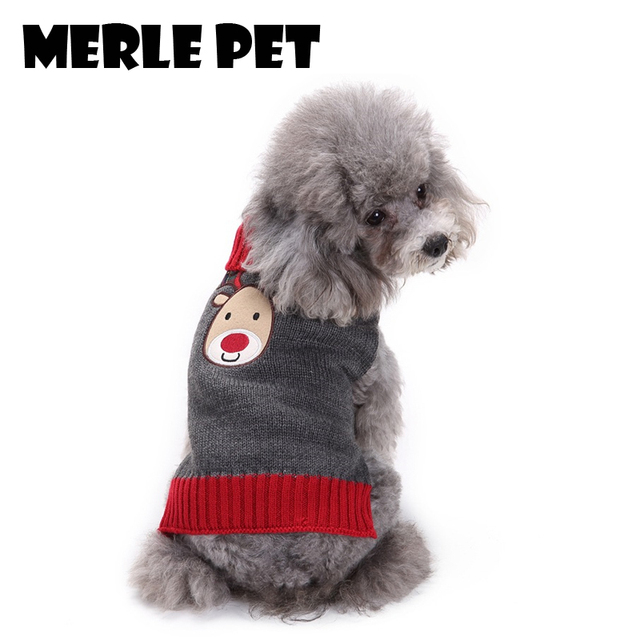 merle pet christmas costume reindeer cute dog sweaters coat warm winter soft puppy clothes chihuahua small - Large Dog Christmas Sweaters
