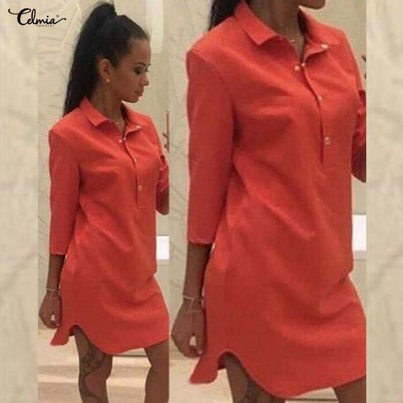 Celmia 2019 Summer Shirt Dress Women 3/4 Sleeve Lapel Button Curve Hem Casual Solid Mini Dress Long Tunic Top Plus Size Vestidos
