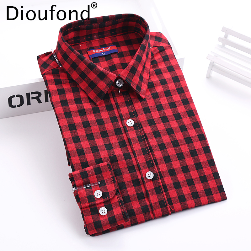 Dioufond Autumn Plaid Shirt Wanita Blaus Long Sleeve Blouse Shirt Wanita Plaid Blusas Femininas Flannel Womens Tops Fesyen