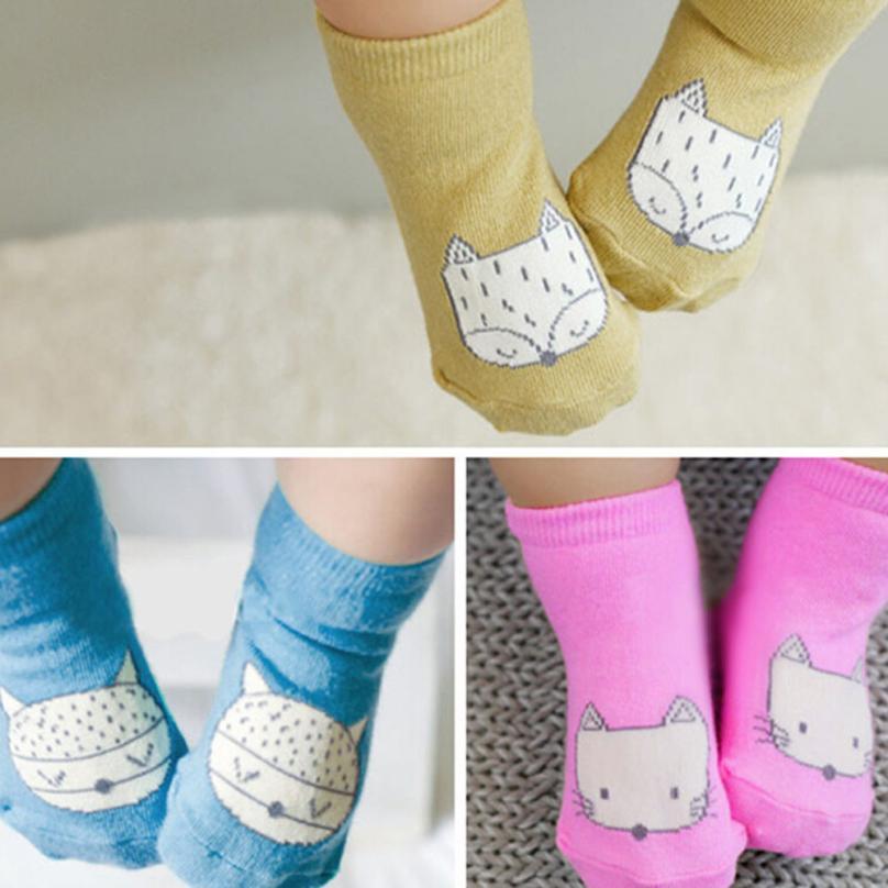 kids socks children socks anti slip Fox Cotton boys girls baby socks with rubber soles b ...
