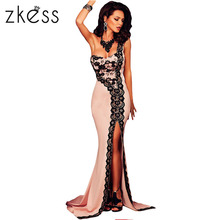 ZKESS Black Lace One-shoulder Flesh Pink Mermaid Dress LC61082
