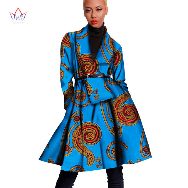 3dee9b79c70 2018 Hitarget Autumn African Women Traditional Coat Dashiki Print Wax  Elegant Riche Trench Coat Africa Clothes for Ladies WY1622