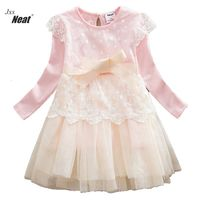 2017 Retail Winter Baby Girl Long Sleeves Dress Cute Style Princess Party Dress Lace Bow Tie