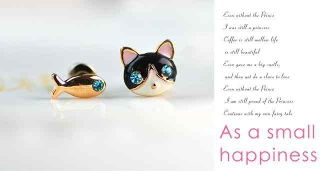 Emas Biru Yang Indah CZ Kristal Rhinestone Mata Kucing dan Ikan Hewan Asimetris Anting-Anting Anting-Anting untuk Wanita Perhiasan Tindik