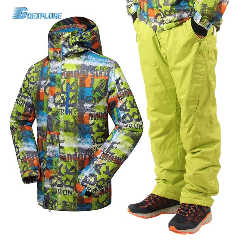 Goexplore Ski Suit Male -30 Outdoor Waterproof Windproof Thicken Coat Winter Snow Set Snowboarding Jacket And Pants For Men