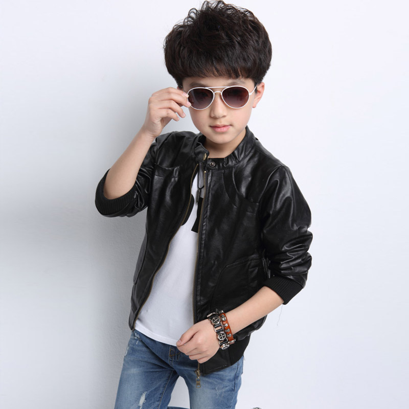 2017 new brand fashion children's PU leather motorcycle jacket autumn spring kids outwear children cool coat baby boy clothes