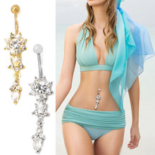 New Chic Flower Rhinestone Dangle Navel Belly Button Ring Body Piercing Jewelry chic rhinestone embellished women s cuff ring