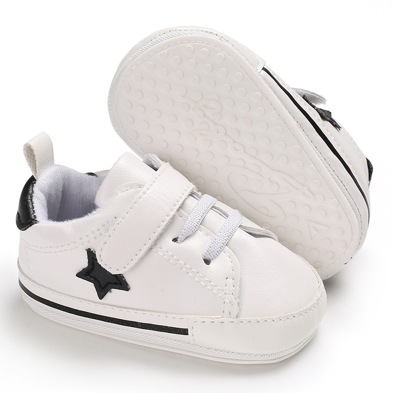 Baby Boys Girls Leather Shoes Stars Rubber Sole Newborn Baby Toddler First Walkers For 0-18 Month