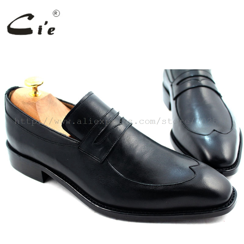 cie Free Shipping Bespoke Handmade Men's Calfskin Leather Outsole Breathable Penny Loafer Slip-on Color Black Shoe No.Loafer 29 cie free shipping round toe adhesive craft handmade tassel slip on casual calfskin blue purple leather men s shoe no loafer 53