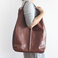 Vintage Simple Nature Cow Leather Hobos Bag For Women Composite Bags Genuine leather Shoulder Bag Large Size Handmade