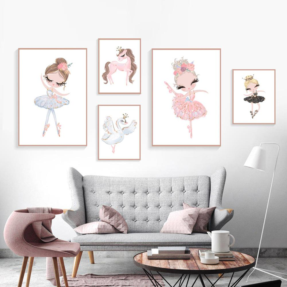 Swan Dancer Wall-Painting Bedroom-Decor Nordic-Poster Horse Canvas Un-Framed Girl Kids