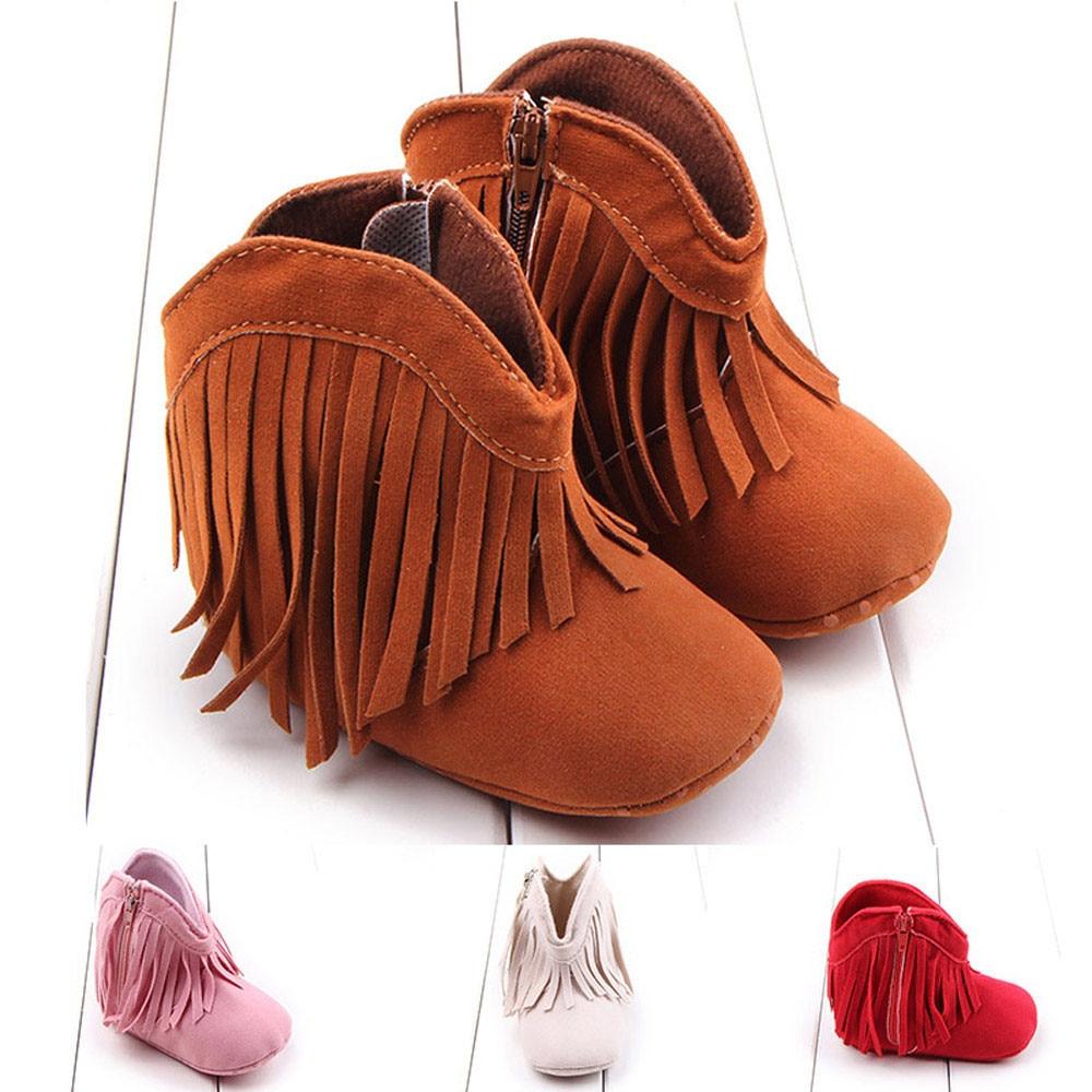 Toddler Infant Newborn Baby Girl Shoes Soft Sole Boots Prewalker Tassel
