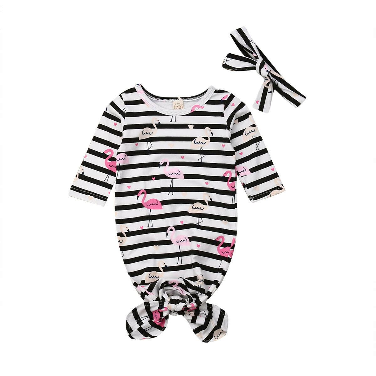 Met Goed Opvoeding 0-9 M Leuke Pasgeboren Baby Jongen Meisje Met Lange Mouwen Gestreepte Flamingo Nachtkleding Slaap Zak Hoofdband 2 Stuks Met Traditionele Methoden