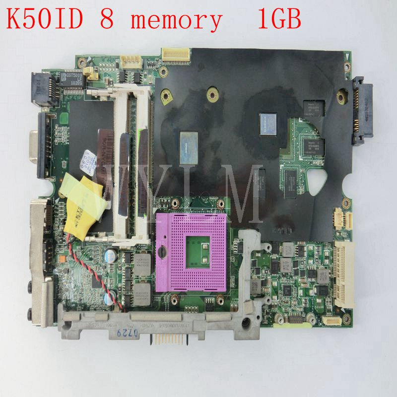 K50ID Motherboard for ASUS X5DI K50IE K50I K50ID Laptop Mainboard REV 3.2 8 Memory 1GB 100%Tested Working Well free shipping k73ta for asus k73t x73t k73ta k73tk r73t latop motherboard rev 1a qbl70 la 7553p hd7670m 1gb mainboard 100% tested ok