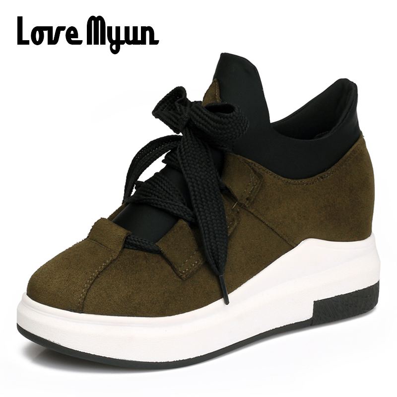 2018 brand fashion women shoes casual Height Increasing shoes High-top girls shoes Sneakers Flat Travel Lace up shoes SB-01