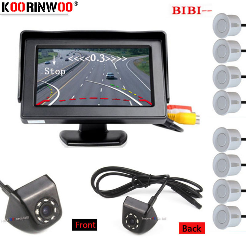 Koorinwoo Dynamic Trajectory Car Parking Sensor 8 Probes Alarm CCD Front Camera Rearview Monitor TFT LCD