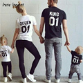 2017 New Family King Queen Letter Print Shirt Cotton tshirt Mother and Daughter father Son Clothes Matching Princess Prince