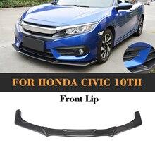 Front Bumper Lip For Honda CIVIC 10th 2016 2017 Type R Style Glossy Carbon Fiber Front Lip Apron Splitter Guard