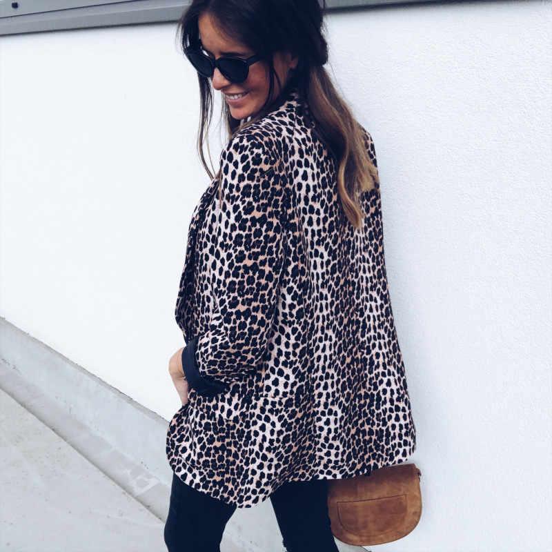 女性スリム Ol スーツカジュアルブレザーレオパードジャケットコートトップス生き抜く長袖コートヒョウ柄ブレザーレディース