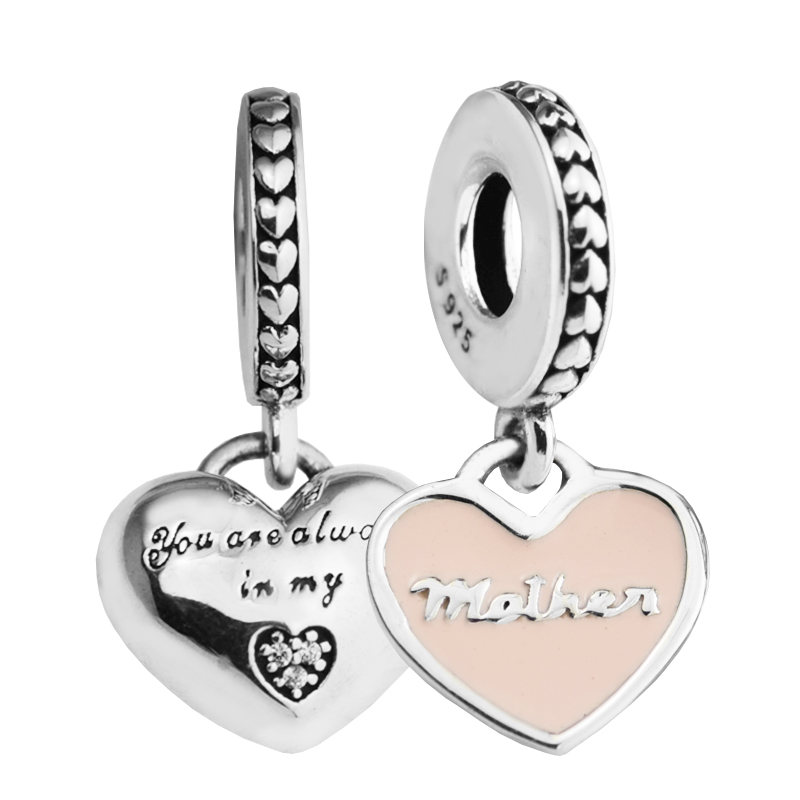 Fits Original Bracelet Mother Daughter Hearts Charm 925 Sterling Silver S Day Blessing Gift Diy Jewelry Pandocci In Charms From