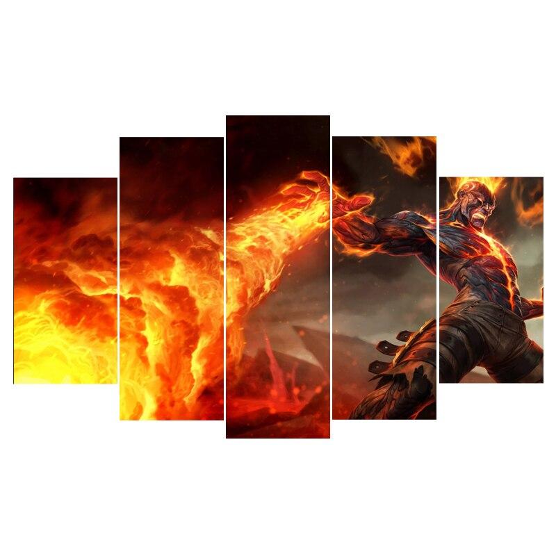 Настенные панно для Гостиная Куадрос 5 Панель игровой персонаж Nordic украшения новые стены Книги по искусству холст огня картина картину, пла...