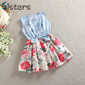 2017 Children Costume Lovely Kids Jean Denim Bow Flower Ruffled Girls Dress Baby Girl's Clothing Kids Evening Dresses bunchems