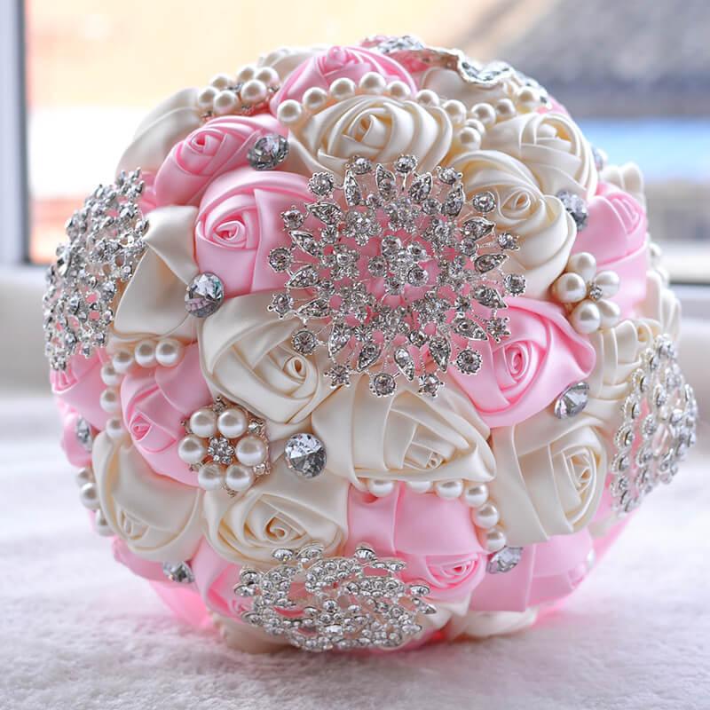 Wedding-Bouquet Artificial-Flower Pearls Buque-De-Noiva Handmade With Bridal Cheap Beaded