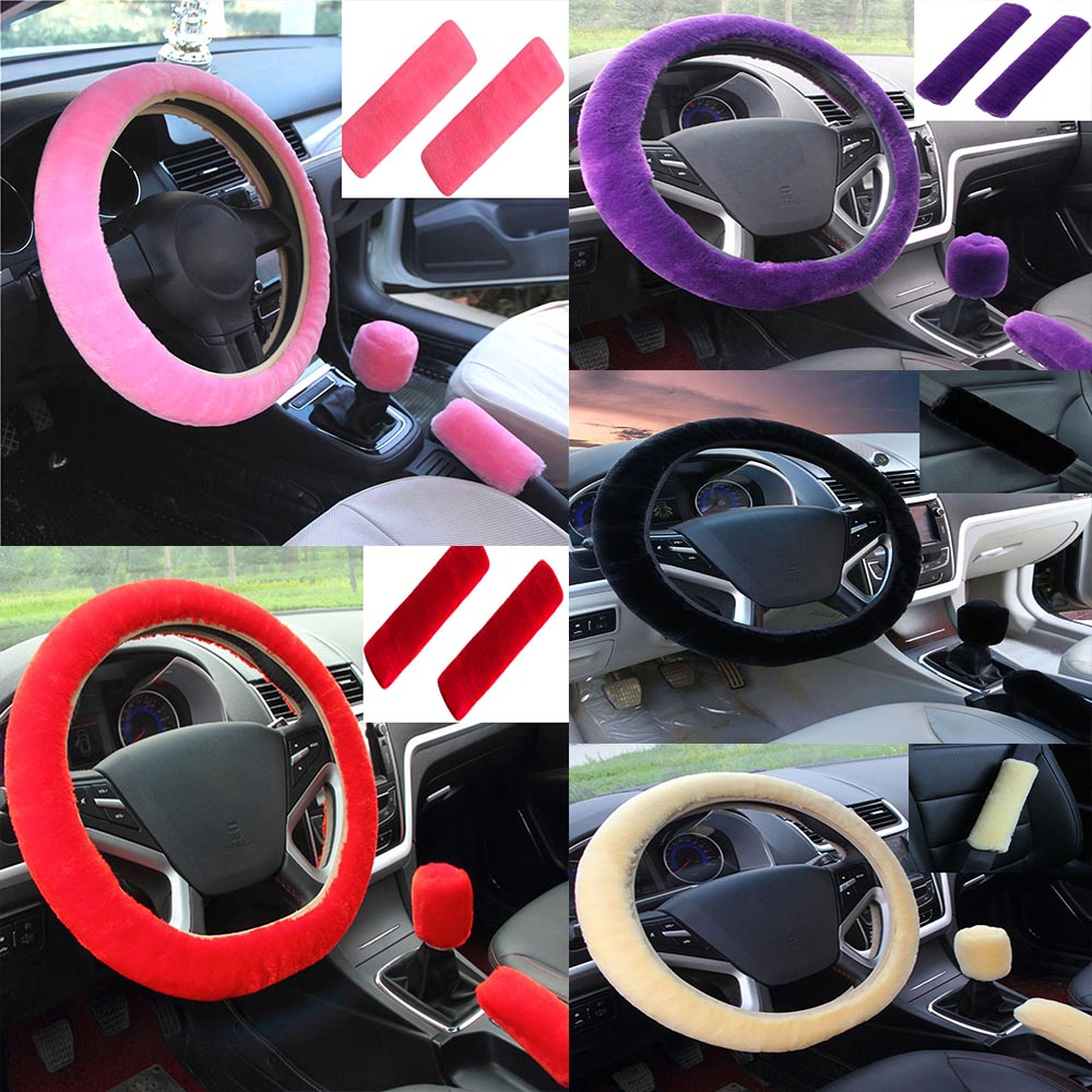 Universal Winter Faux Wool plush Car Steering Wheel Cover/&Seat belt cover/&hand brake cover/&Gear Shift Cover Set Car Seat Cover Anti-slip car Interior Accessories 5pcs//set winered