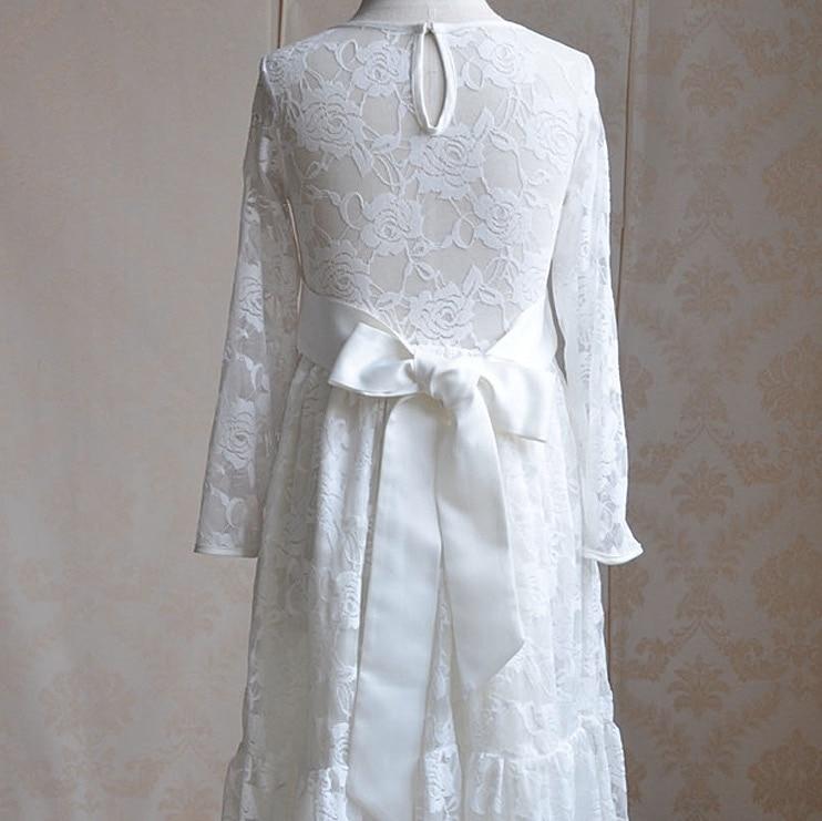 white lace floral dress 2017 long sleeve party princess dresses kids ...