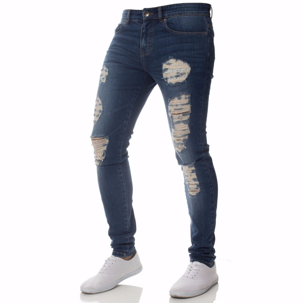 Solid ripped Ripped Beggar Jeans With Knee Hole 2