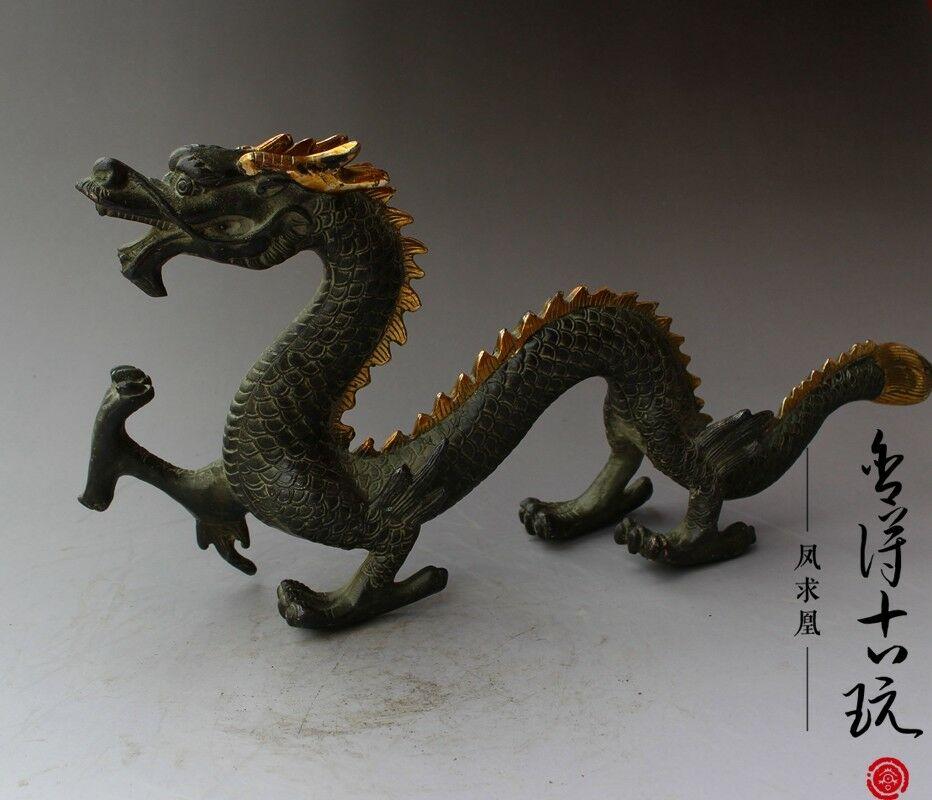 Chine vieux antique fait à la main En Bronze doré Du Zodiaque Chinois dragon statue