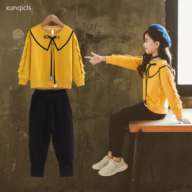 בנות בגדים סטי אביב סתיו ילדים ארוך שרוול חולצות + מכנסיים חליפה חדש הילדה Outewear ילדי בגדי סט 4 13Y