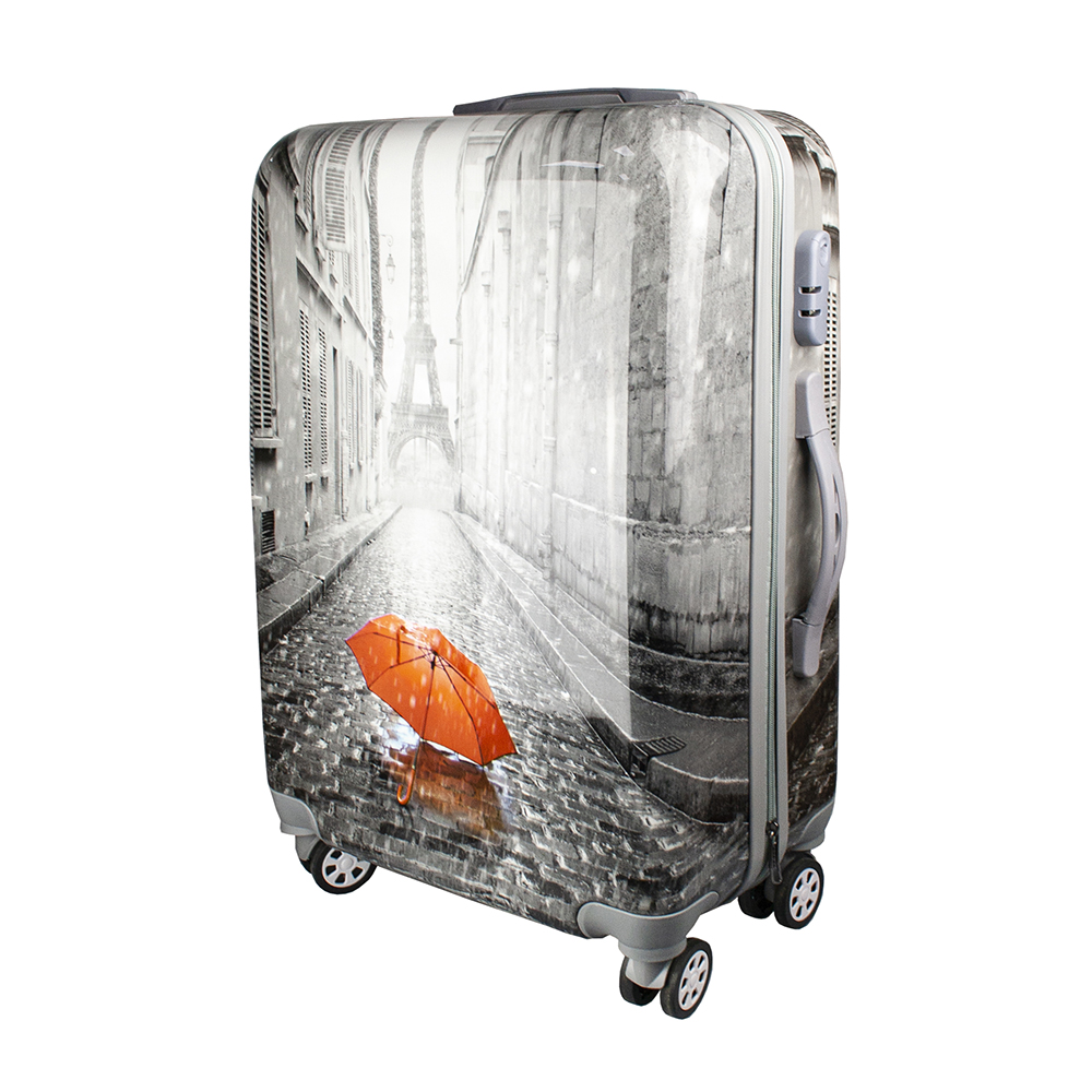 Fashionable suitcase with print PROFFI TRAVEL PH9209, M, plastic, medium, with combination lock fashionable suitcase with print proffi travel ph9209 m plastic medium with combination lock