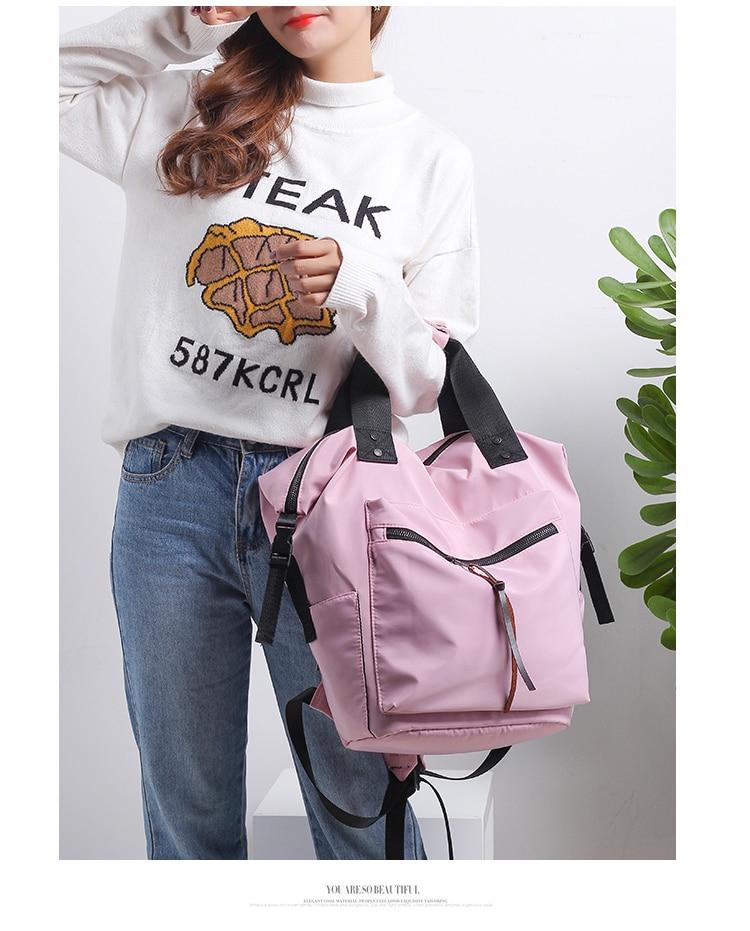 HTB18ydwaznuK1RkSmFPq6AuzFXaE Fashion Nylon Waterproof Backpack Women Large Capacity Schoolbags Casual Solid Color Travel Laptop Backpack Teen Girls Bookbags