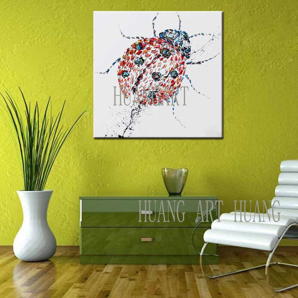 Tebal Minyak Pisau Lukisan Minyak dan Kumbang dan Gecko Kuning Bebek Di Atas Kanvas Seniman Berpengalaman Buatan Tangan Kualitas Tinggi Abstrak