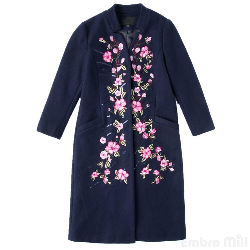 M Pour Broderie Gamme De 4xl Élégant Tranchée Hiver Haut Taille Manteau Bleu La Femmes Laine Manteaux Vintage Femme Floral Plus Lâche Dame BRw7Y75q