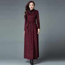 2017 New Fashion Winter Women'S Double Breasted Wool Coat Plus Size Long Trench Coat Black / Red / Purple Color S-4XL