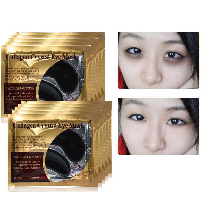 10 шт. = 5 пар, маска для глаз с кристаллами и коллагеном, золотые маски, патчи для глаз, темные круги, против старения, увлажняющие накладки для глаз, гелевые патчи для сна