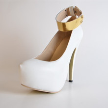 Fashion 2015 Summer Style Cute Pure White Faux Leather Women's  Stiletto Heel Platform Shoes with Golden Buckle Ladies Pumps