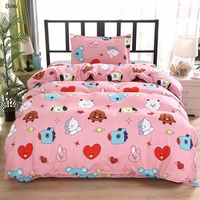 Boxi 3pc Kids Quilt Bedding Sets Kawaii Cartoon Bed Sheet Linen Quilt Cover Bed Set Cute Korean Style Bed Sheets And Pillowcases