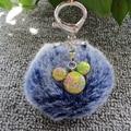 Fashion Bag Pendant Creative 8cm Simulation Rabbit Fur Ball Pompom Keychain Mickey Key Chain Silver Plated Key Ring For Women
