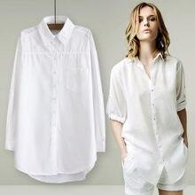 02f21570322 Бойфренд белая блузка Для женщин рубашки с длинными рукавами хлопковая  рубашка свободная стильная женская обувь Топы Chemisier F..