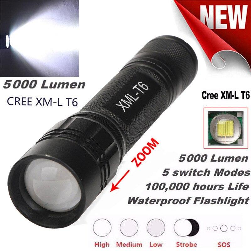 ᐂ5000lm 5 modos xm-t6 Super brillante x800 Tactical linterna LED ...
