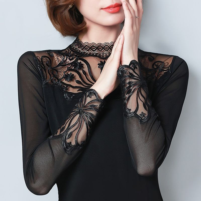spring hollow out sexy   Blouse     shirts   new arrival women long sleeve   shirt   sexy slim lace hollow out female solid color top DF2218