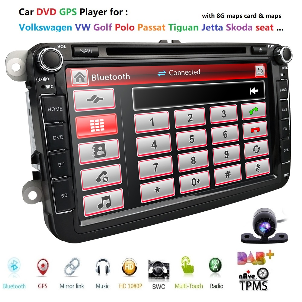 Lecteur DVD 8''Car pour VW Golf mk6 5 Polo Jetta Tiguan Passat B6 5 cc pour skodao ctavia fabia SWC RDS AM/FM EQ DTV CAM carte BT DAB