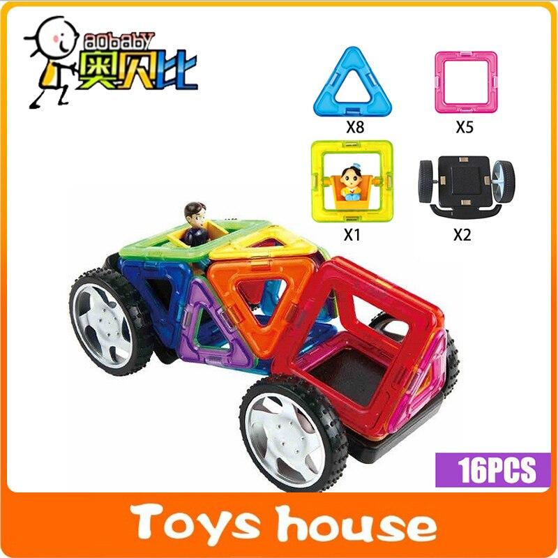 16pcs magnetic building blocks car education toys magnet building bricks for kids model building toys