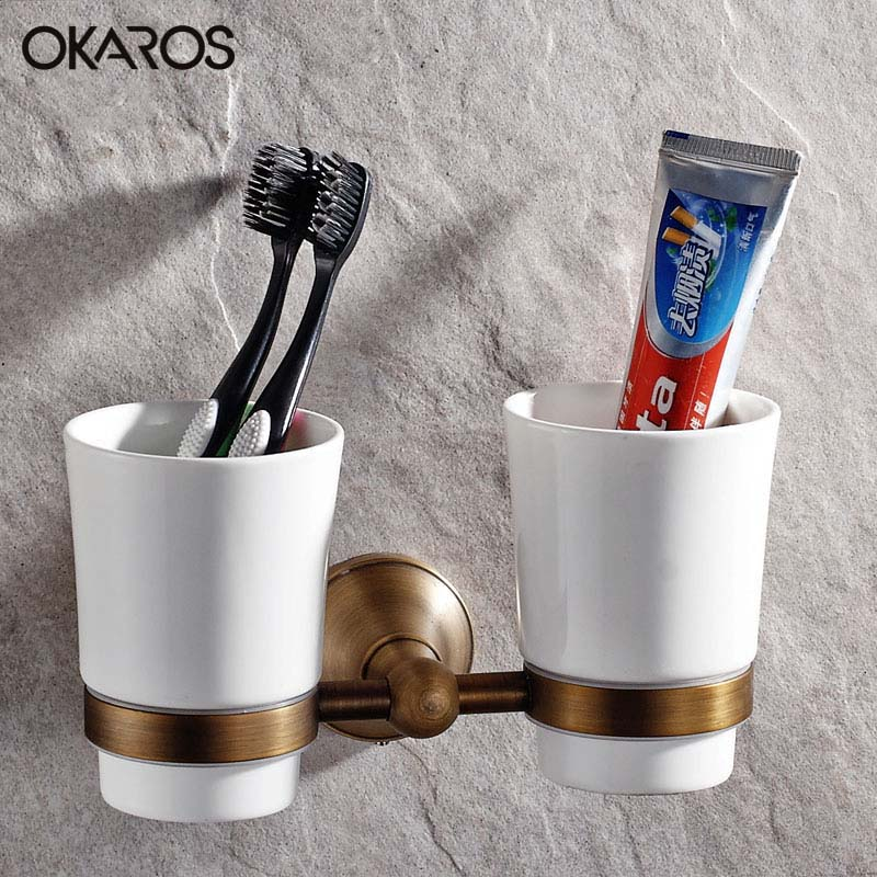 OKAROS Wall Mounted Euro Antique Bathroom Double Ceramic Cup Holder Toothbrush Tumbler Holder Oil Rubbed Bathroom  Accessories allen roth brinkley handsome oil rubbed bronze metal toothbrush holder